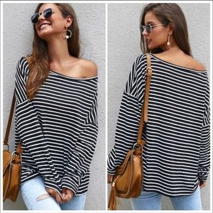 BLACK WHITE STRIP OFF SHOULDER  - top